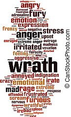 Wrath word cloud concept. Vector illustration