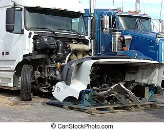 wreak, tracteur, semi