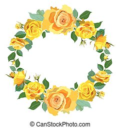 Wreath Background with Yellow Roses.