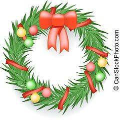 Wreath Balls Ribbons Christmas Decoration  Vector Illustration