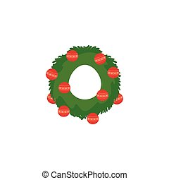 wreath christmas with red balls