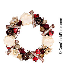 wreath decorated with paper flower