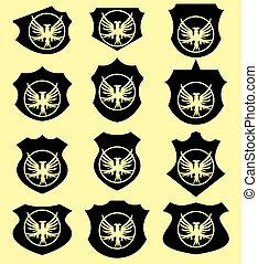 wreath eagle shield vector art
