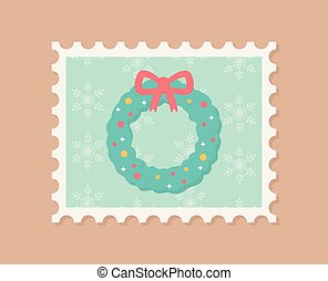 wreath floral celebration happy christmas stamp
