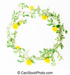 Wreath floral frame of yellow flowers on white background. Flat lay, top view.