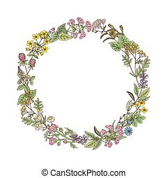 Wreath from hand drawn herbs and flowers