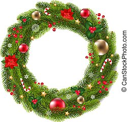 Wreath Fur Tree With Gradient Mesh, Vector Illustration