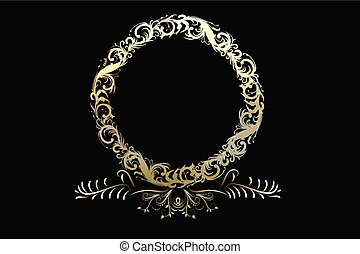 Wreath gold floral anniversary element vector logo