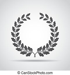 Wreath icon with shadow on a gray background. Vector illustration
