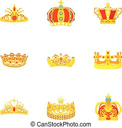 Wreath icons set, cartoon style