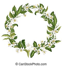 Wreath in vintage style with citrus flowers in shape of a ...