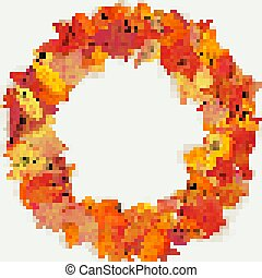 Wreath made of autumn flowers and leaves on light background. Autumn composition. EPS 10
