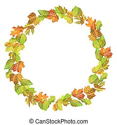 Wreath made of colorful autumnal leaves isolated illustration