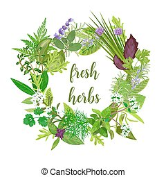Wreath made of Realistic herbs and flowers with text. Herbs and Spices