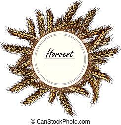 Wreath made of rye and wheat. 3d icon vector. Horizontal label. For design, logo, symbol, cooking, bakery, tags, labels, textile