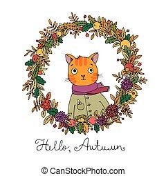 Wreath of autumn leaves. cute cartoon cat.
