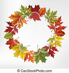 Wreath of autumn leaves, hand-drawi