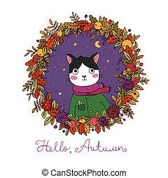 Wreath of autumn leaves. Portrait of a cute cartoon cat.