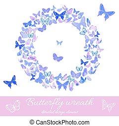Wreath of butterflies design element template