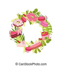 Wreath of cake and greens. Decorated with raspberry berries. Vector illustration on white background.