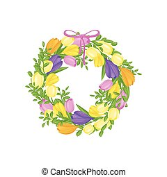 Wreath of colorful flowers on white background.