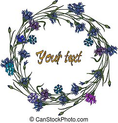 Wreath of cornflowers. Summer time, vector frame of flowers...