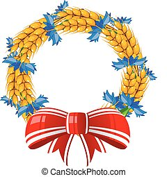 Wreath of ears and cornflower with