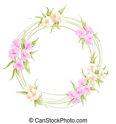 wreath of flowers - Alstroemeria flowers on white background