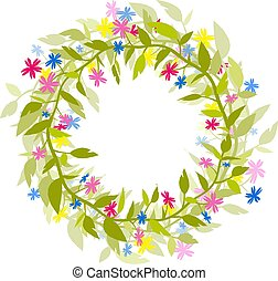 Wreath of flowers and herbs. Isolated vector image.