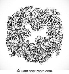 Wreath of Flowers fantasy invented graphic drawing in ink on a white background