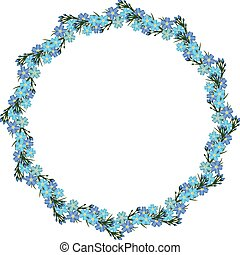 Wreath of forget-me-not. Vector template frame - Wreath with...