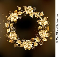 wreath of gold roses - wreath of gold, jewelry roses on a...