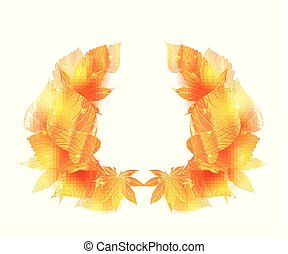 Wreath of golden leaves with sparkle.