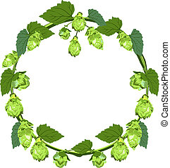 Wreath of hops in the form of a circle. Illustration in vector format