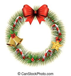 wreath of leafs for christmas decoration with bow ribbon