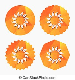 Wreath of leaves sign icon. Leaf circle symbol.