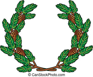 wreath of pine branches, branch of pine and pine cone