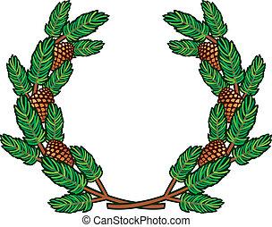 wreath of pine branches - wreath of pine branches, branch of...