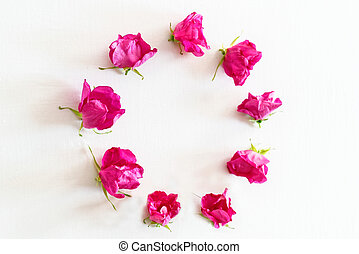 Wreath of Pink Tea roses on the white - Wreath of Pink Tea ...