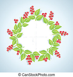Wreath of red berries with green leaves