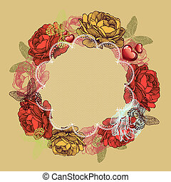 Wreath of roses and butterflies, valentines day. Vector illustration.