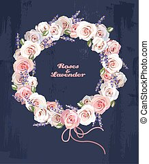 Wreath of roses and lavender