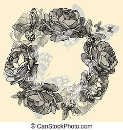 Wreath of roses, butterflies, hand-drawing. Vector illustration.