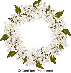 Wreath of small white flowers. Isolated vector image.