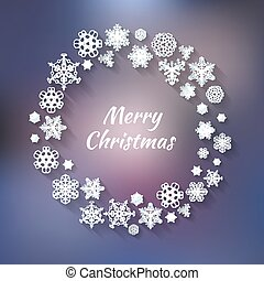 Wreath of snowflakes on the purple background with Christmas greetings