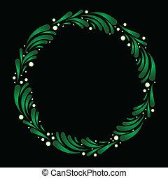 Wreath of stylized mistletoe