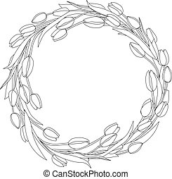 Wreath of tulips spring coloring page vector decoration