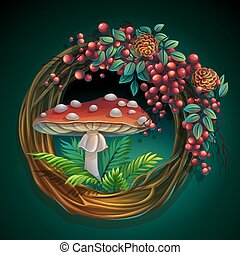 Wreath of vines and leaves with amanita mushroom