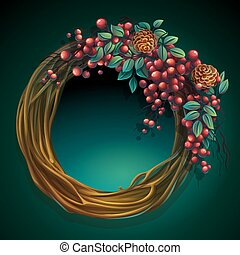 Wreath of vines and leaves with ash berry and cedar cones