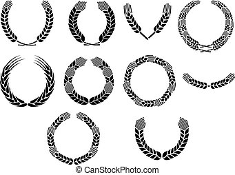 Wreath of wheat ears vector icons